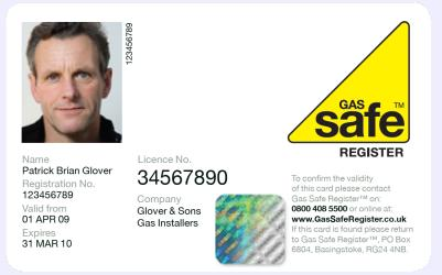 Front of Gas Safe identity card.